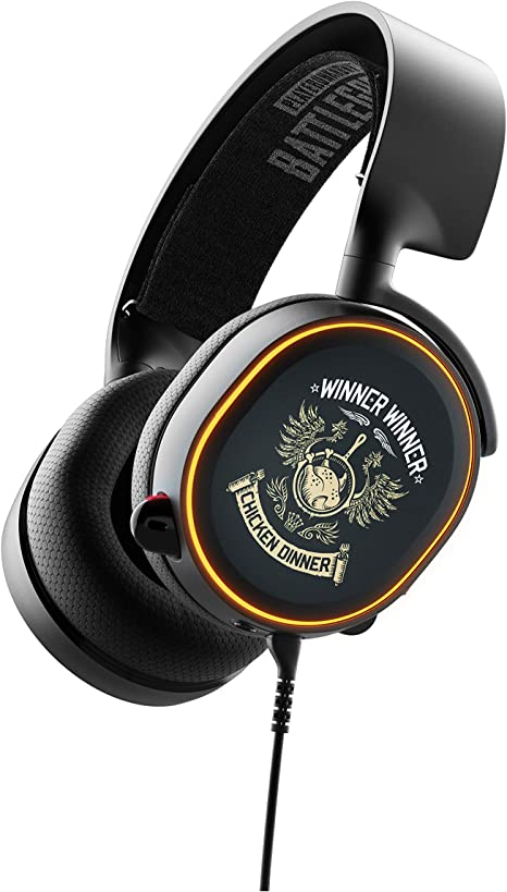 Amazon Com Steelseries Arctis 5 Pubg Limited Edition Rgb Illuminated Gaming Headset With Dts Headphone X V2 0 Surround For Pc And Playstation 4 Computers Accessories