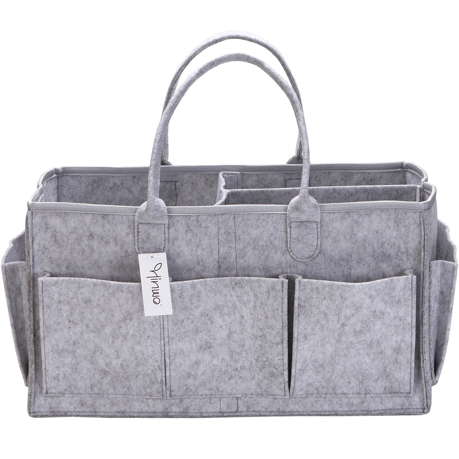 Hinwo Baby Felt Diaper Caddy 3-Compartment Infant Nursery Tote Storage Bin Portable Car Organizer Newborn Shower Gift Basket with Detachable Divider and 8 Side Pockets for Diapers & Wipes, Grey HWSB0010A