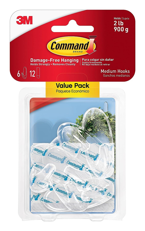 Command Medium Hooks Clear 6 Hook 2 Pack
