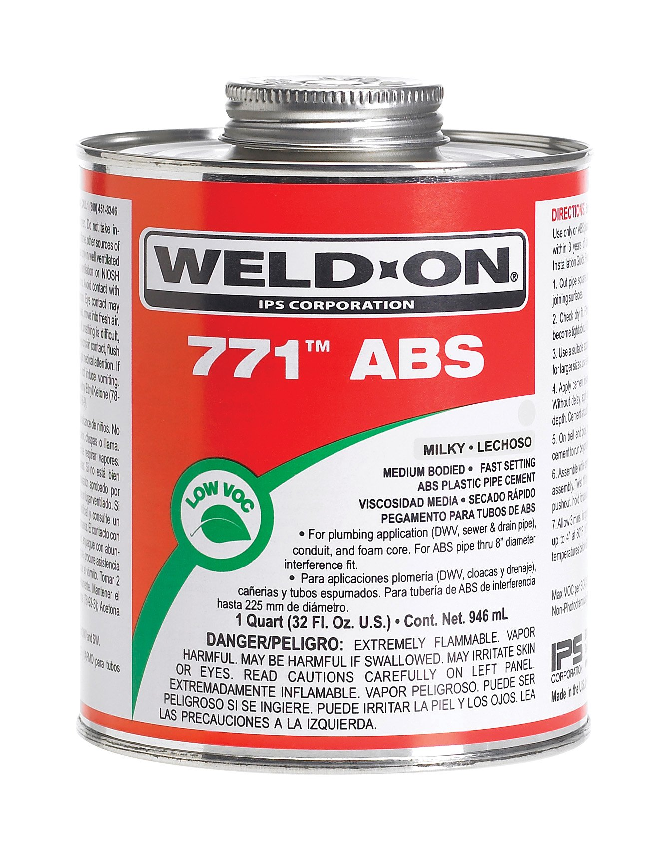 Weld-On 10233 Milky White 771 Medium-Bodied ABS Professional Industrial-Grade Cement, Fast-Setting, Low-VOC, 1 pint Can with Applicator Cap