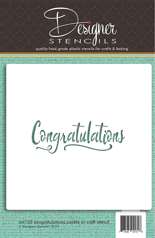Designer Stencils C211 Congratulations Business Card Cookie Stencil Beige//semi-transparent