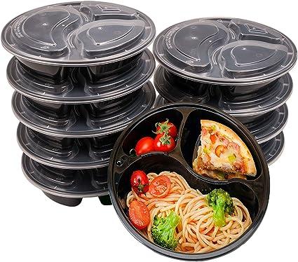 Lavavajillas y Microondas,Reutilizable Caja de Almuerzo 10 pack by OITUGG Apilable 3 Contenedor de Compartimentos de Comida Preparada con Tapa
