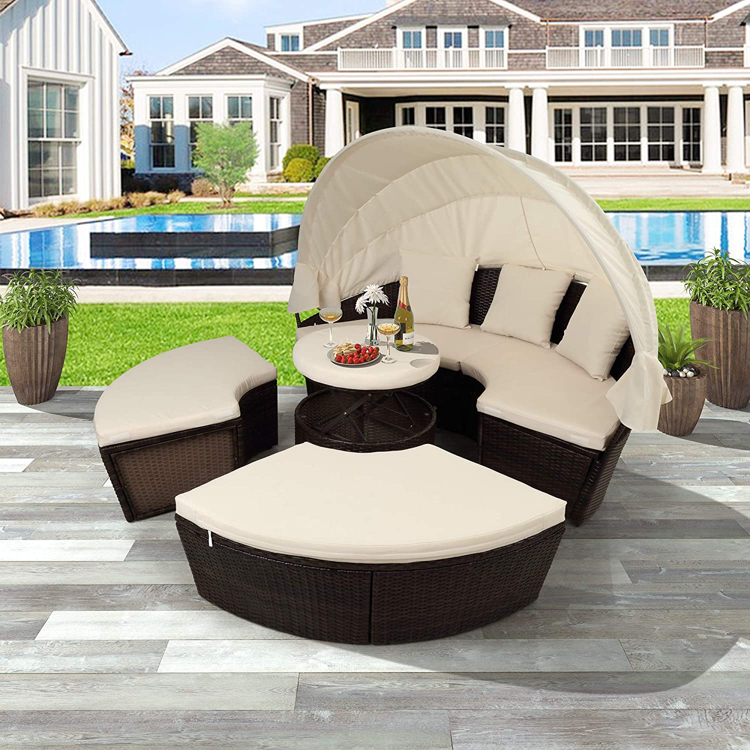LZ LEISURE ZONE Outdoor Patio Furniture Sets, All-Weather PE Rattan Wicker Round Daybed Sectional Sofa Set Conversation Sets with Retractable Canopy and Coffee Table Beige