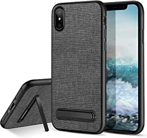 """BENTOBEN Case for iPhone XS Max 6.5"""", Super Slim Kickstand Flexible Soft TPU Full Body Protective Shockproof Anti Scratch Sturdy Protection Manly Phone Covers for Apple iPhone XS+ Max/Plus, Gray/Black"""