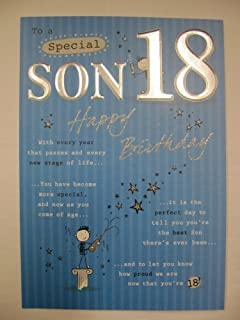 STUNNING TOP RANGE 5 VERSE TO A SPECIAL SON 18 18TH BIRTHDAY GREETING CARD