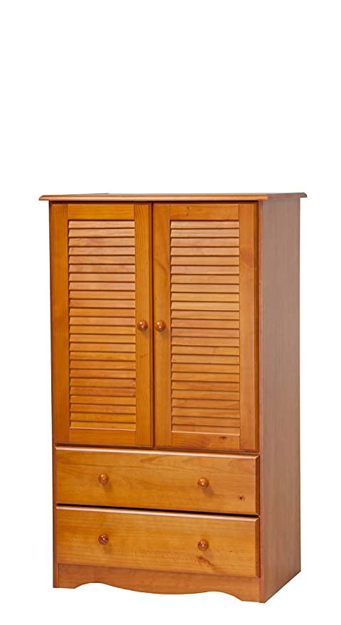 Palace Imports 5914 100% Solid Wood Petite Armoire/Wardrobe/Closet Honey  Pine Color