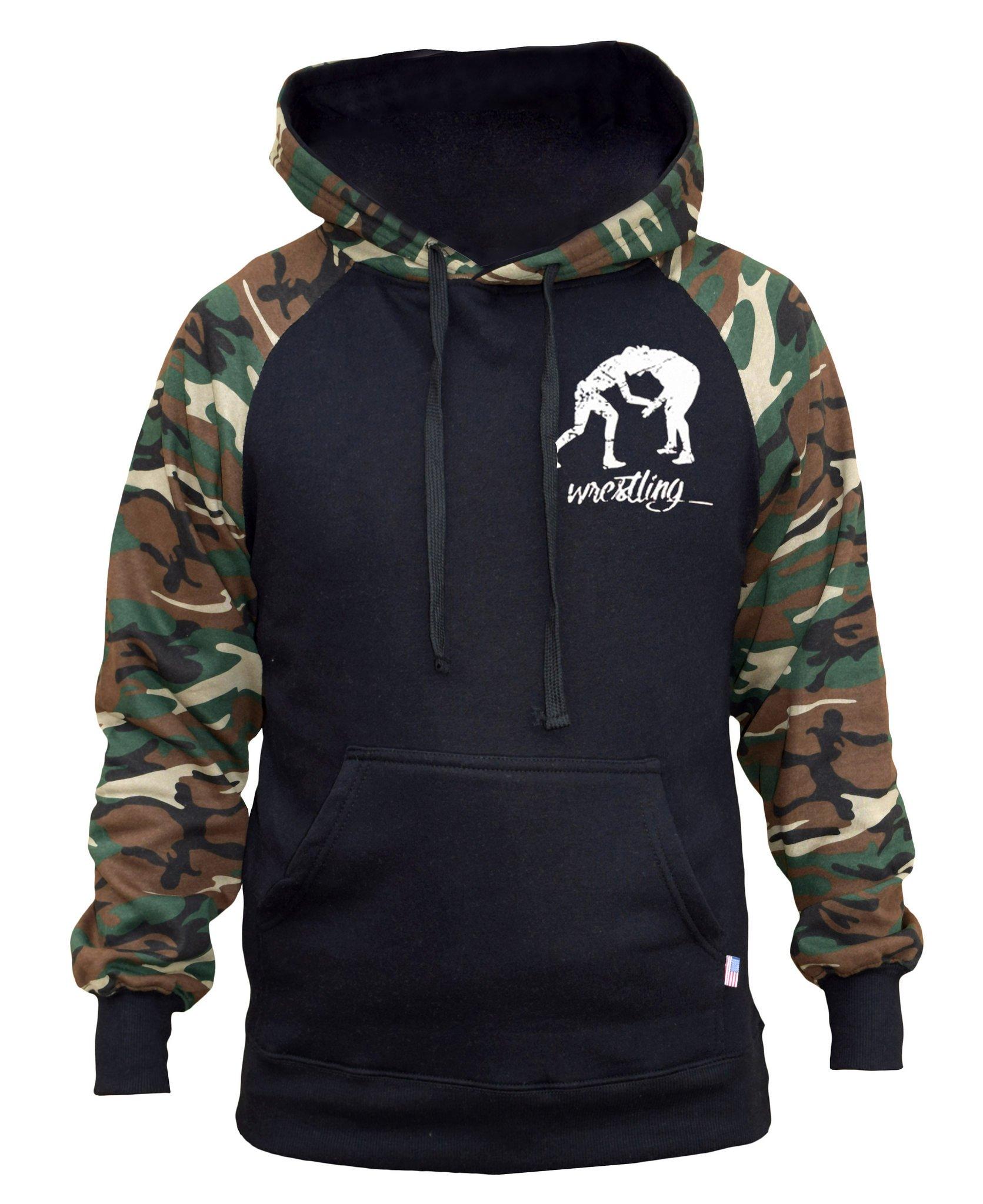 Men's MMA Wrestling Emblem Black/Camo Raglan Baseball Hoodie Medium Black