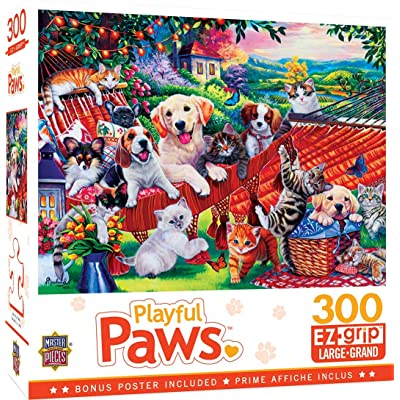 MasterPieces Playful Paws - A Lazy Afternoon 300-Piece EZ Grip Jigsaw Puzzle: Toys & Games