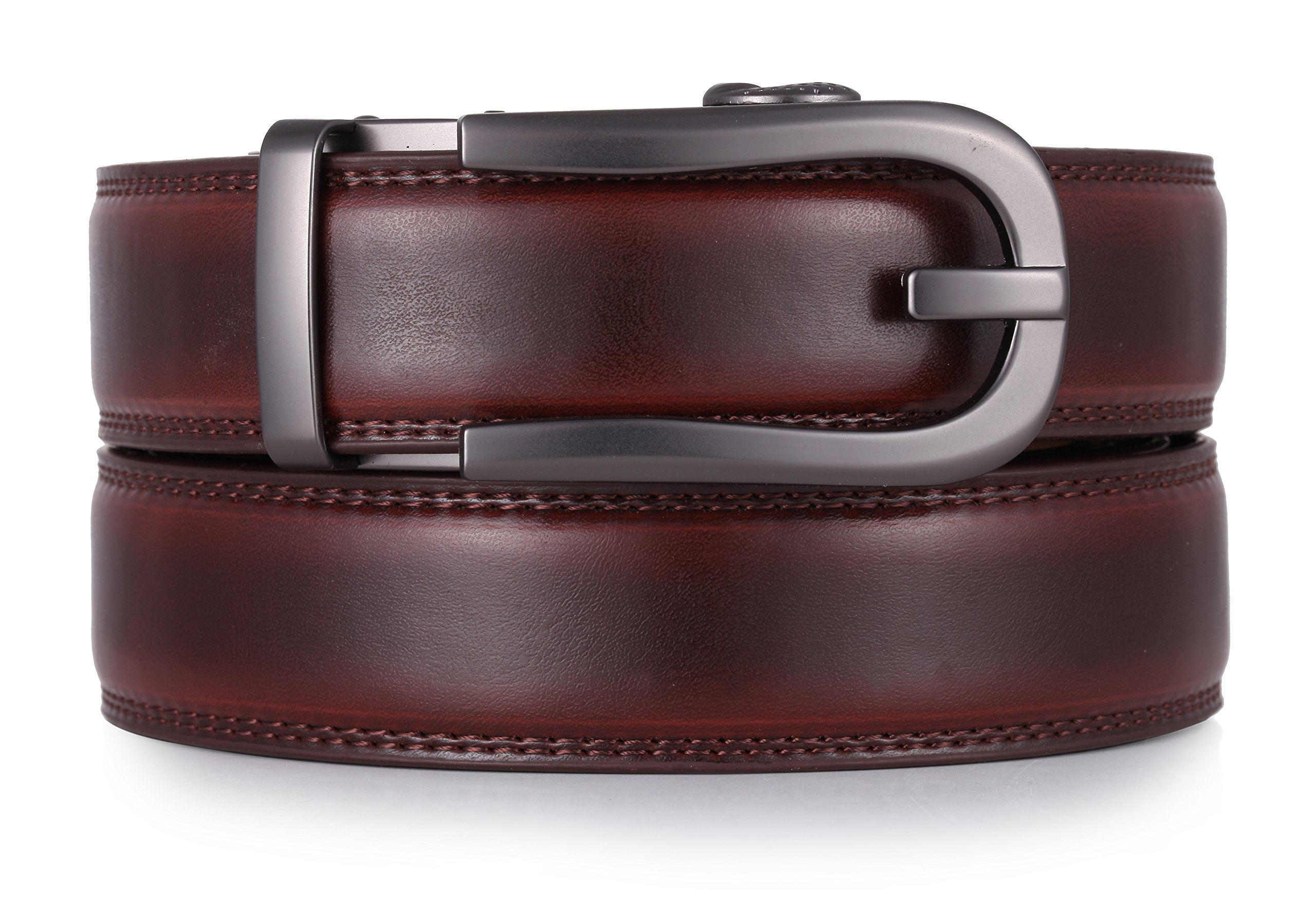Mio Marino Ratchet Click Belts for Men - Mens Comfort Genuine Leather Dress Belt - Automatic Buckle - Style 186 - Mahogany - Adjustable from 28'' to 44'' Waist