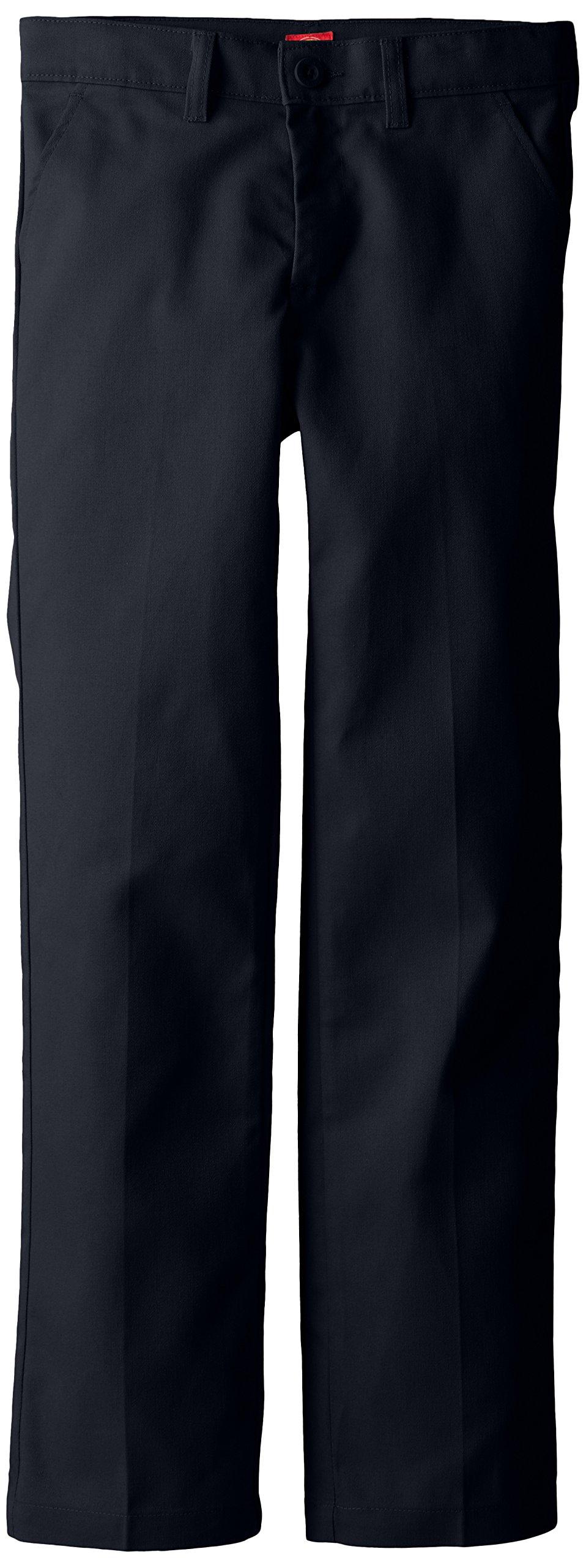 Dickies Big Girls' Slim Stretch Flat Front Pant, Dark Navy, 16 Regular