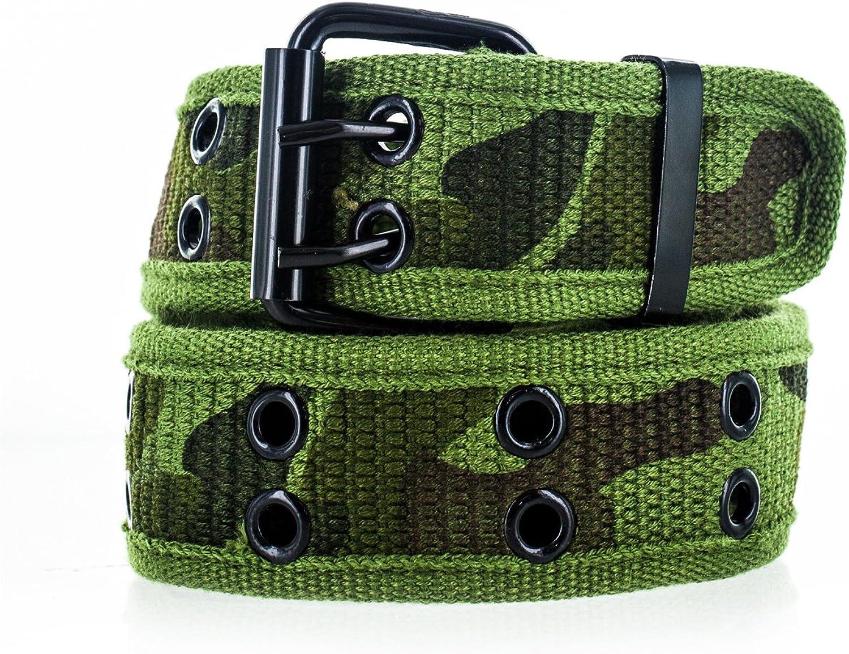 Faddism Unisex Dual Row Grommets Canvas Web Belt