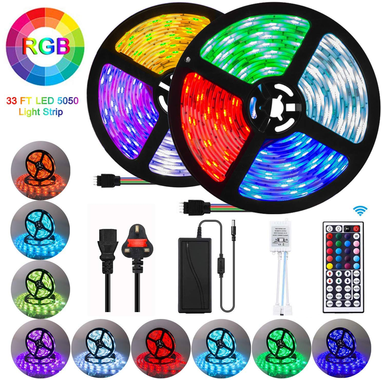 LED Strips Lights, 10M 300LEDs 5050 RGB Colour Changing Lighting Strip