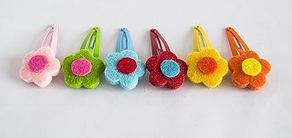 Pack de 6 horquillas de flores de fieltro en colores surtidos. Envío GRATIS 72h: Amazon.es: Belleza
