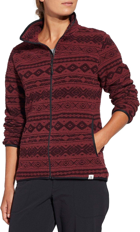 Alpine Design Womens Jacquard Fleece Jacket XS, Tawny Maroon Jacquard