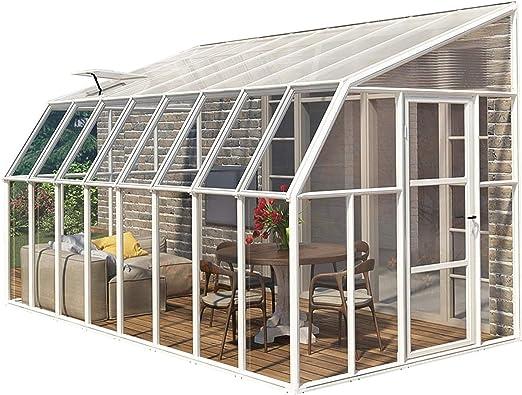 Invernadero y jardín de invierno de plástico Rion Sun Room 48 (508 x 258 x 266 cm (profundidad x ancho x altura) + tragaluz: Amazon.es: Jardín