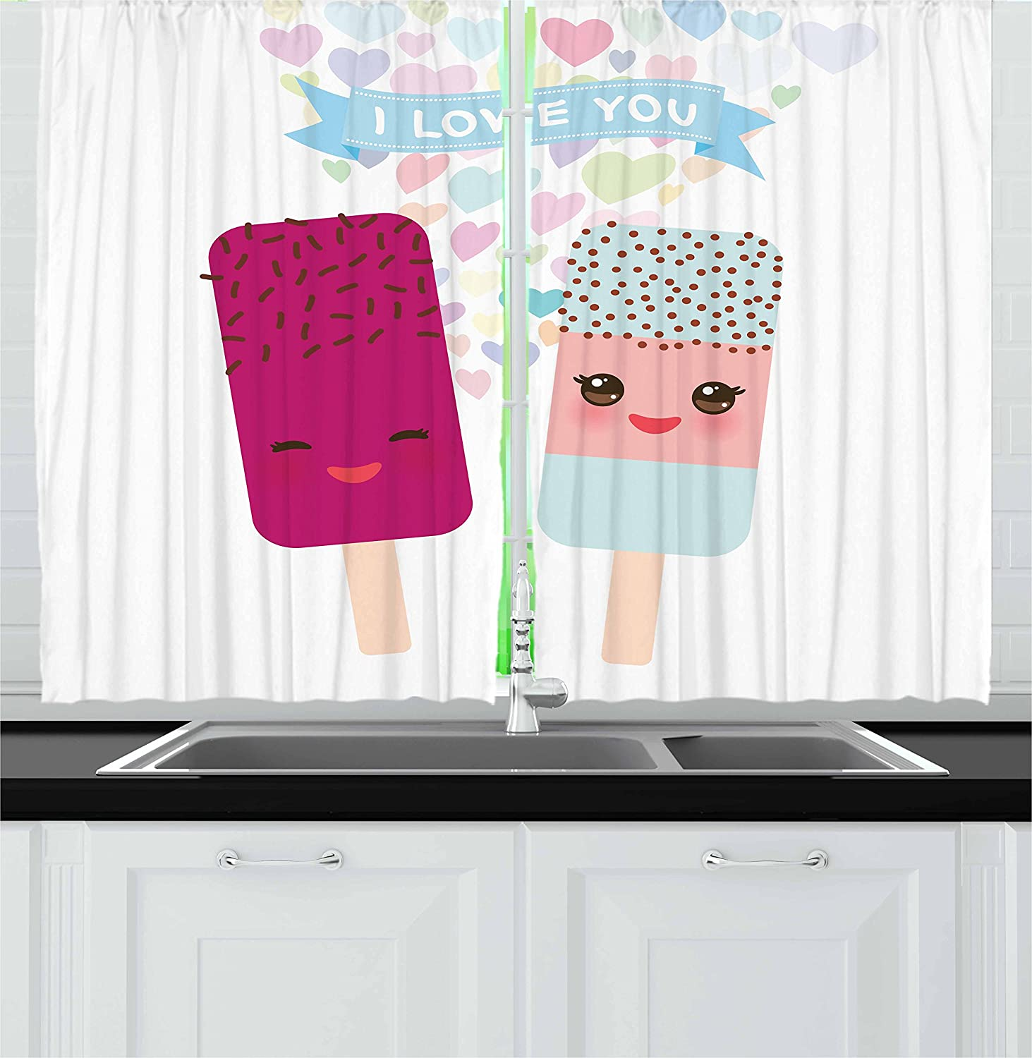 Lunarable Kawaii Kitchen Curtains Abstract I Love You Banner With Colorful Hearts And 2 Smiling Popsicle Ice Creams Window Drapes 2 Panel Set For Kitchen Cafe Decor 55 X 39 Multicolor
