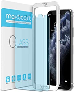 """Maxboost (3 Pack) Screen Protector with Anti-Blue Compatible Apple iPhone 11 Pro Max and iPhone Xs Max (6.5"""") [Blue Light Filtering + Eye Protection Tempered Glass] Advance HD Clarity Work Most Case"""