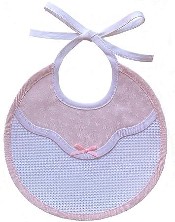 Babero redondo con inserción de tela aida de 55 agujeros en color blanco.,Babero de algodón con esta