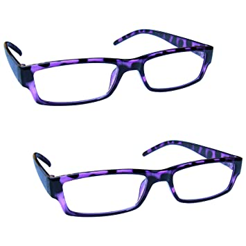 e88a7927a40 The Reading Glasses Company Purple Tortoiseshell Lightweight Comfortable  Readers Value 2 Pack Mens Womens RR32-