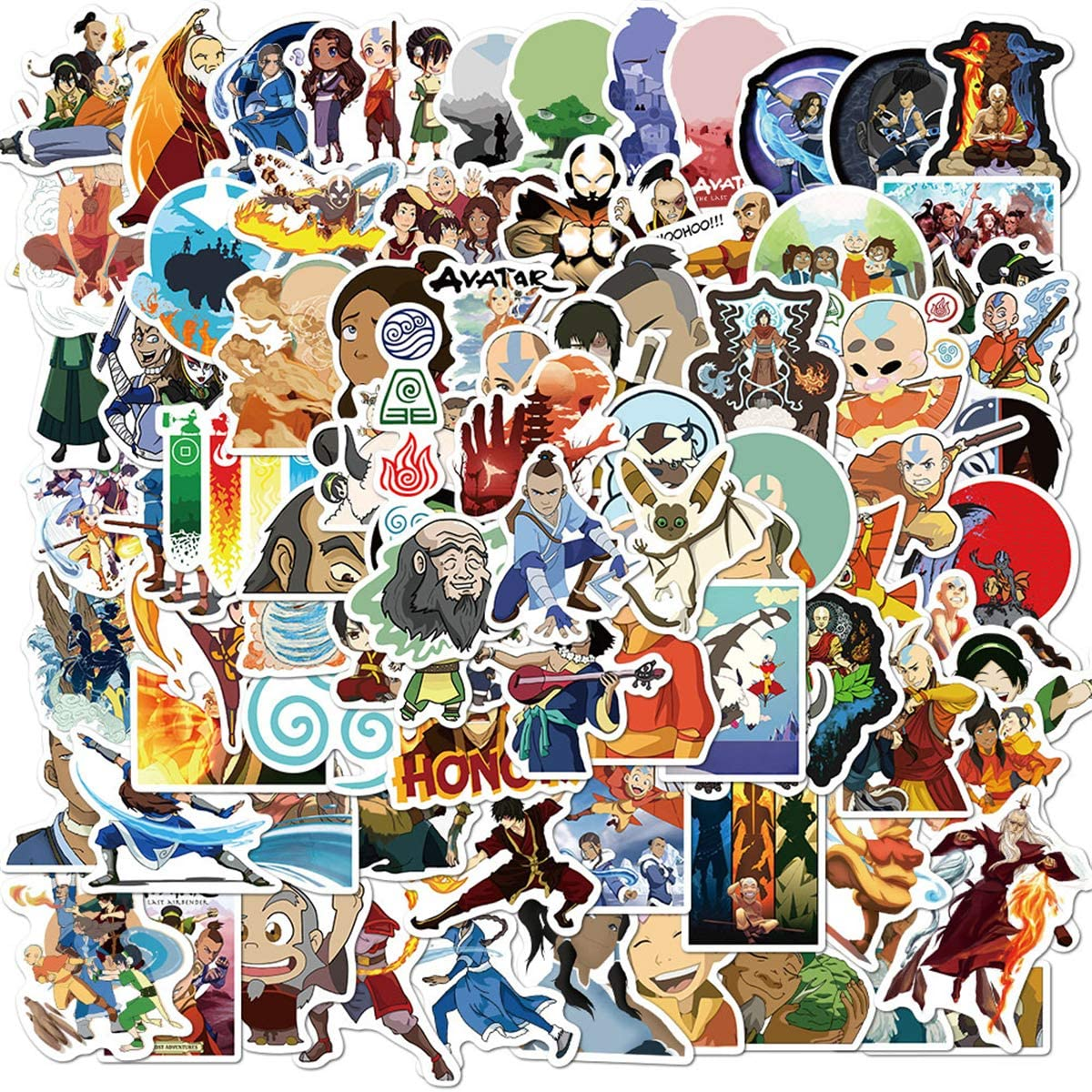 100 PCS Avatar Stickers, Cartoon Anime Movie Sticker, Aang, Katara,Sokka Vinyl Decals, for Laptop, Water Bottle, Car, Skateboard, Guitar, Helmet (Avatar100)