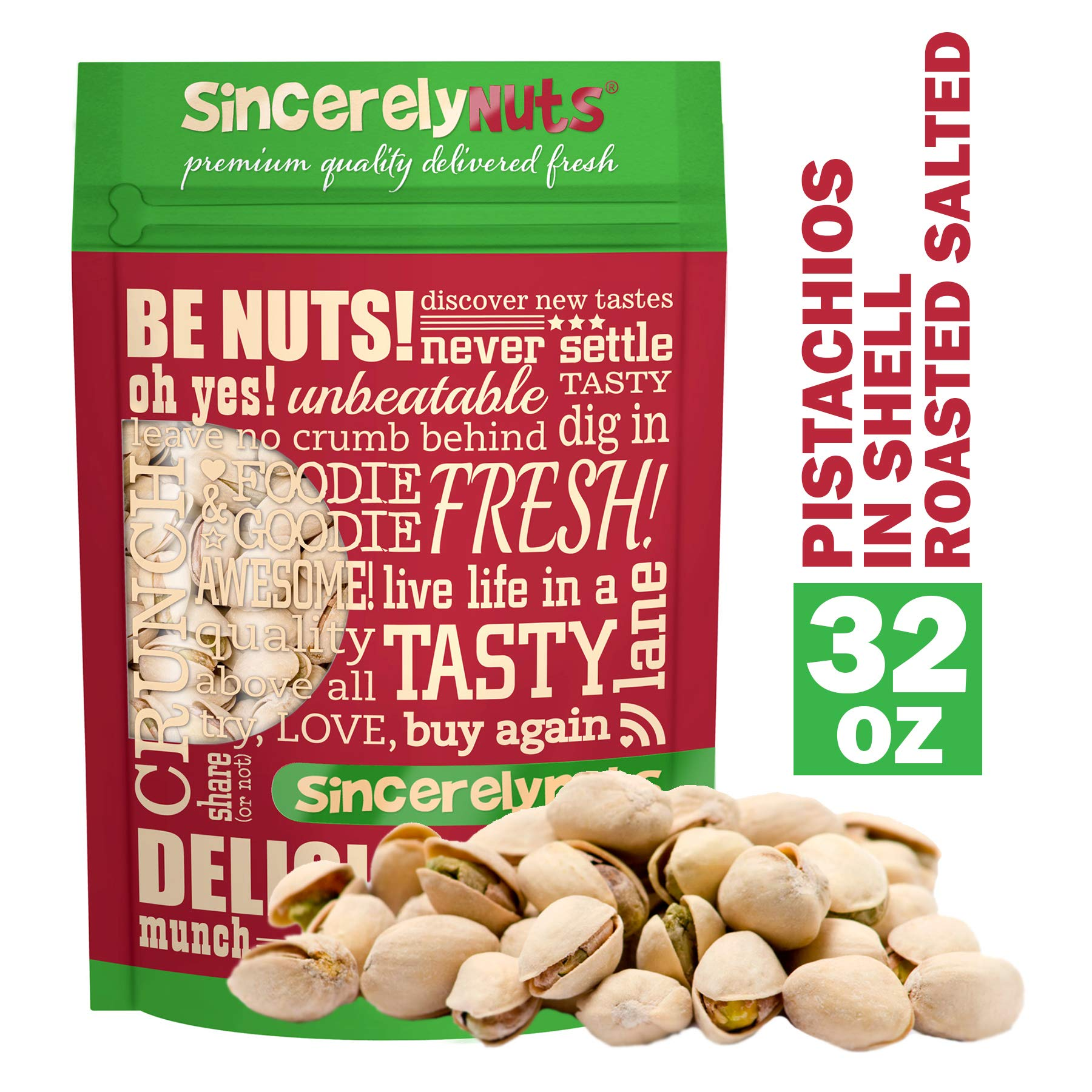 Sincerely Nuts Large Pistachios Roasted & Salted in Shell - 2Lb. Bag   Healthy Snack Food   Great for Cooking   Source of Fiber, Protein, Vitamins & Minerals   Gourmet Flavor   Kosher & Gluten Free