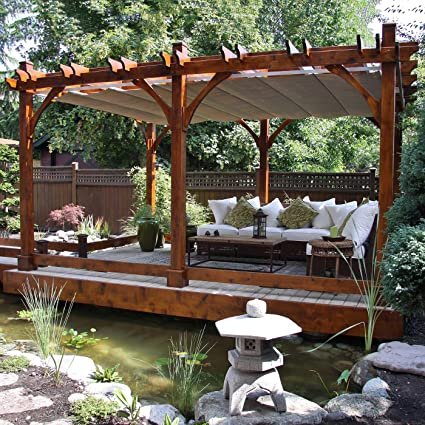 Outdoor Living Today Breeze 10 x 16 Pergola with Retractable Canopy - Amazon.com: Outdoor Living Today Breeze 10 X 16 Pergola With
