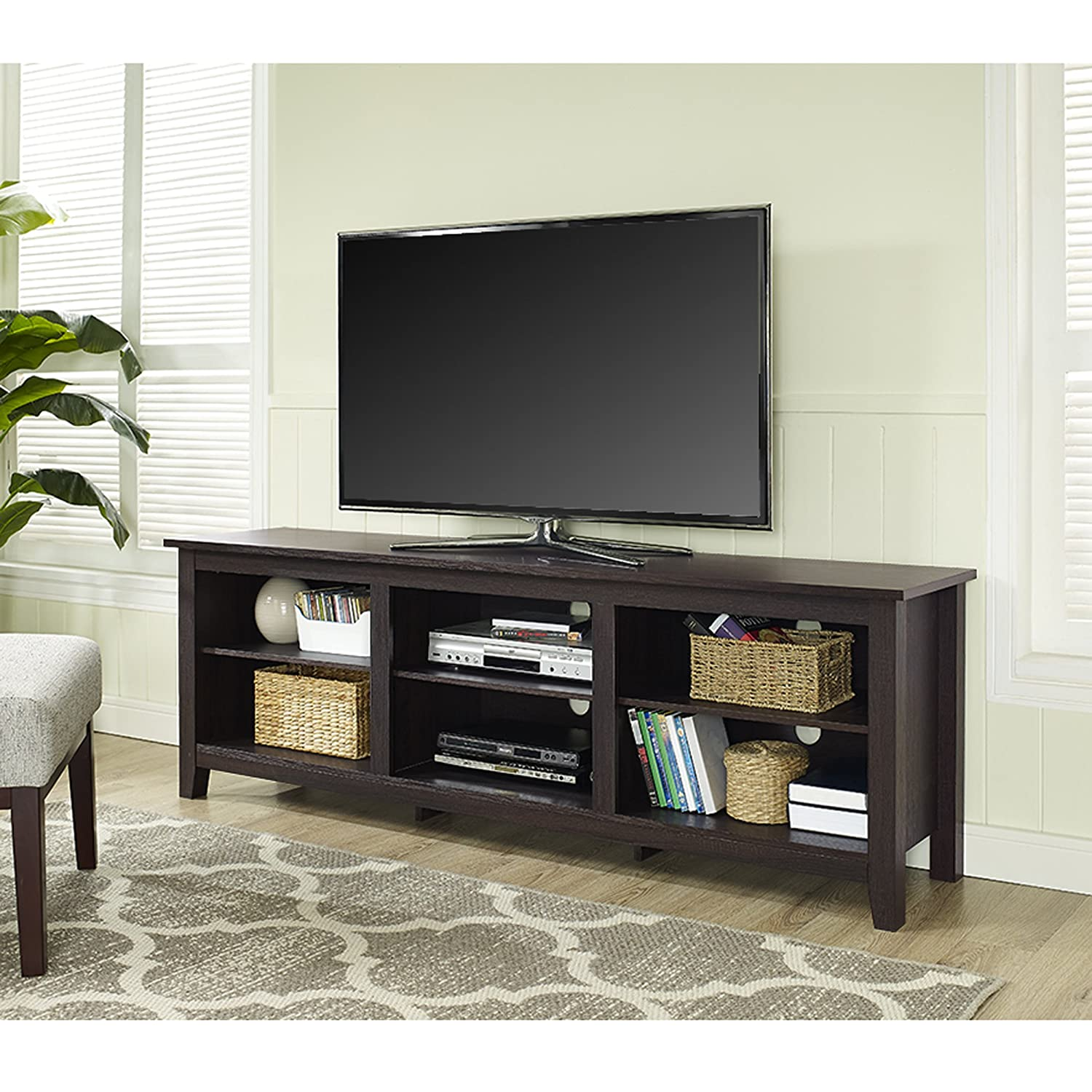 amazoncom we furniture  espresso wood tv stand console  - amazoncom we furniture  espresso wood tv stand console kitchen dining
