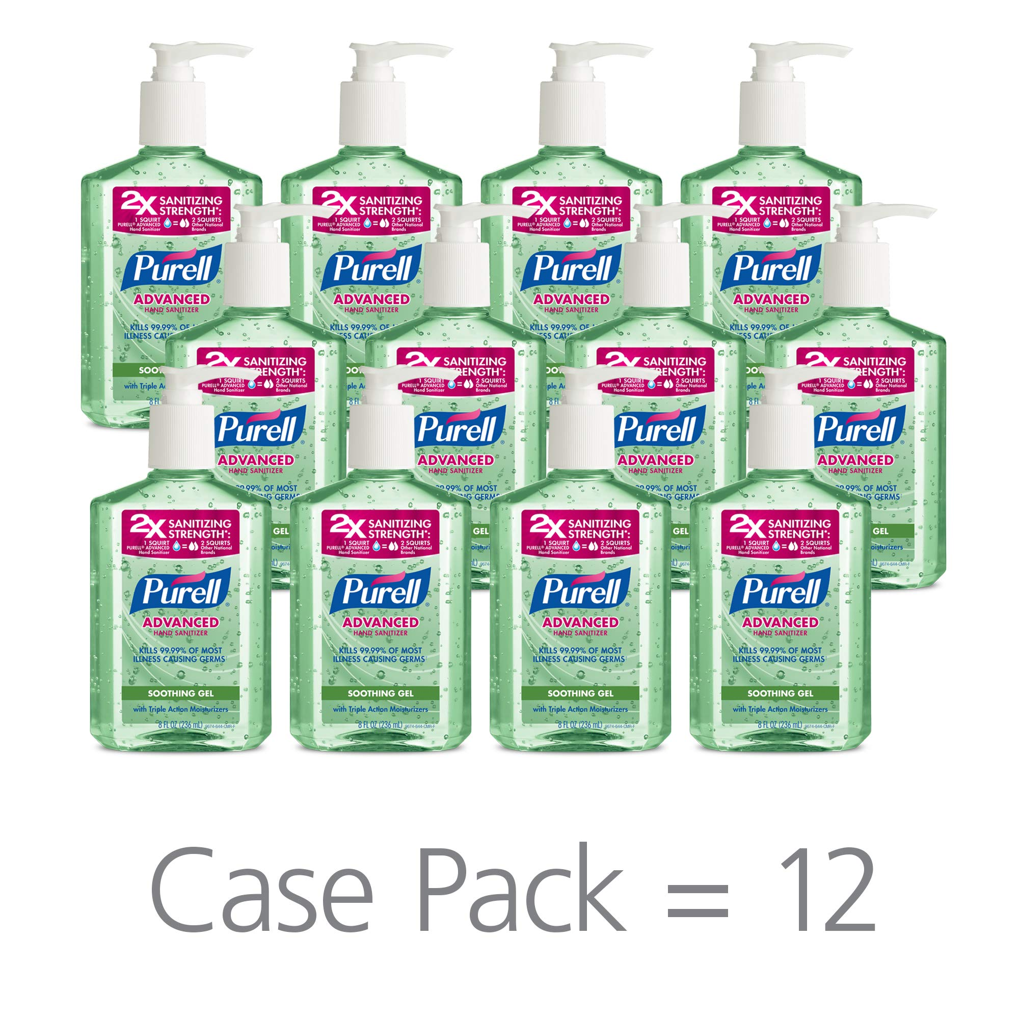 PURELL Advanced Hand Sanitizer Soothing Gel, Fresh scent, with Aloe and Vitamin E- 8 fl oz pump bottle (Pack of 12) - 3016-12-CMR by Purell