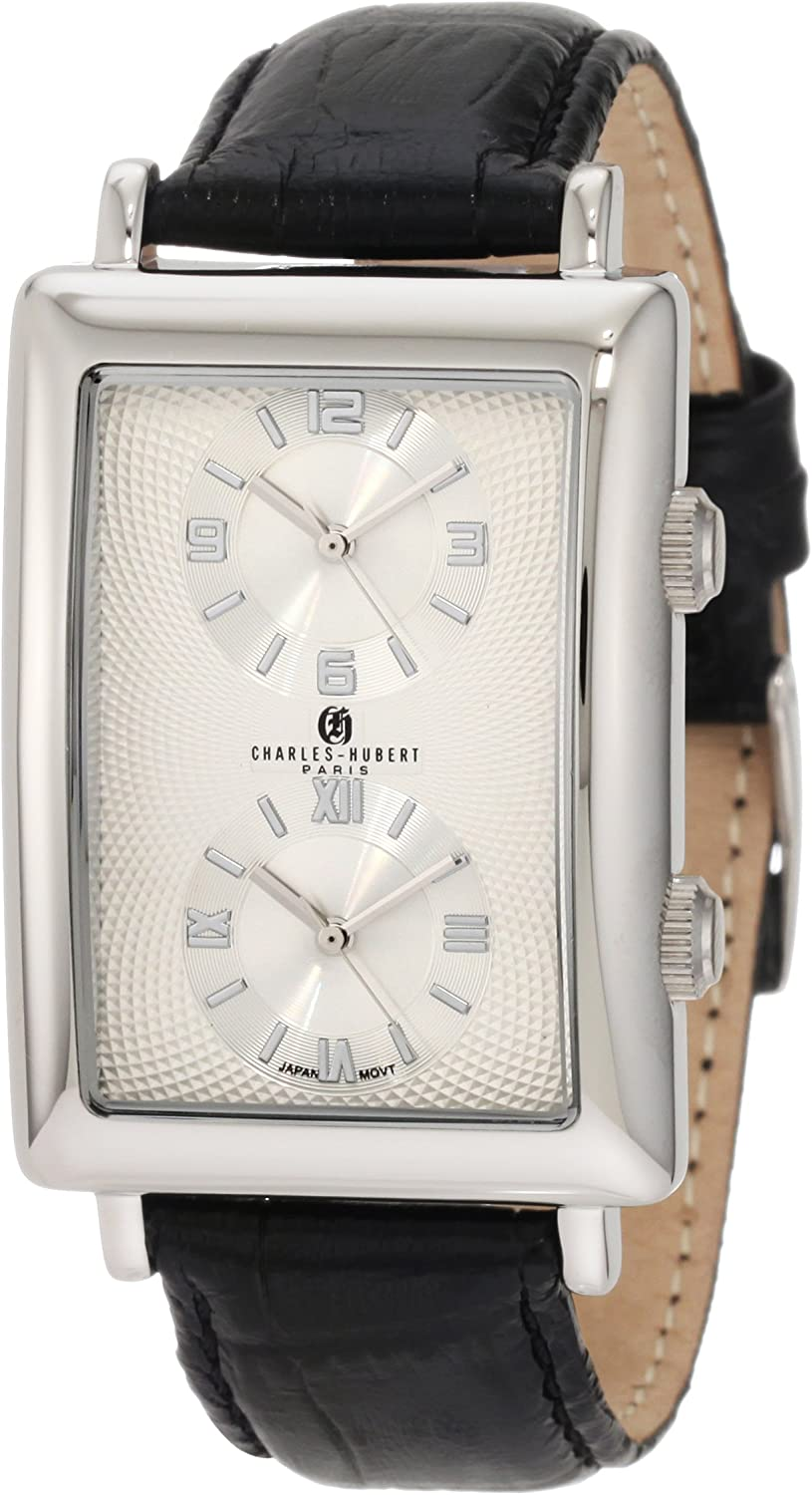 Charles-Hubert, Paris Men s 3854-W Premium Collection Stainless Steel Dual-Time Watch