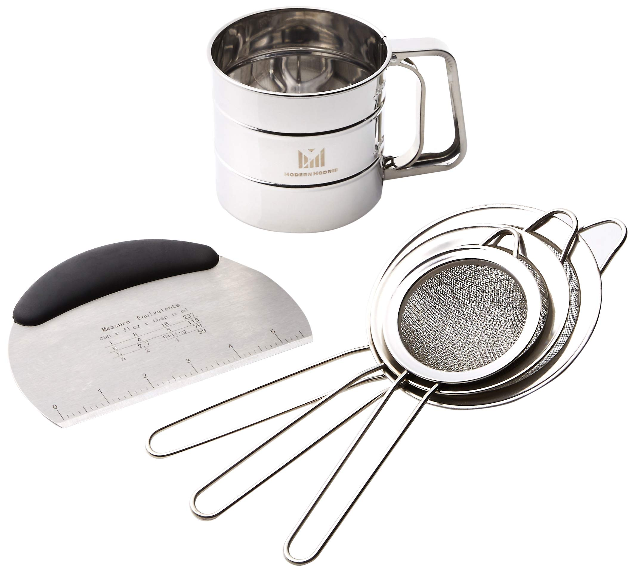 Modern Madrid: Sifter Sieve Set with Dough Scraper. 5 Pieces by Modern Madrid