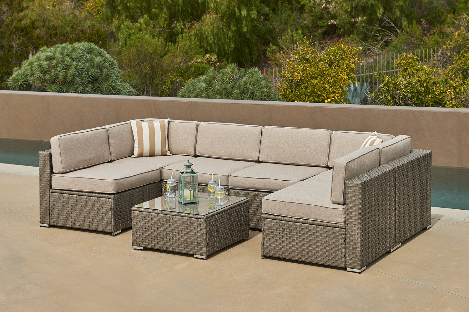 SOLVISTA Outdoor 7-Piece Modular Sectional Furniture Set All Weather Grey Wicker with Light Grey Water Resistant Cushions & Sophisticated Glass Coffee Table | Patio, Backyard, Pool