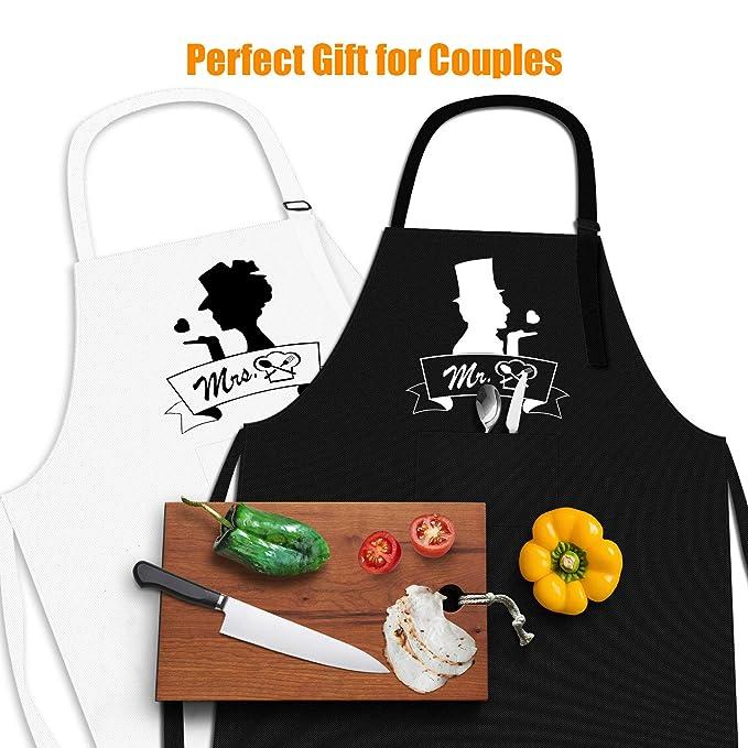 Amazon.com: KeShi Mr. and Mrs. Juego de delantales de cocina ...