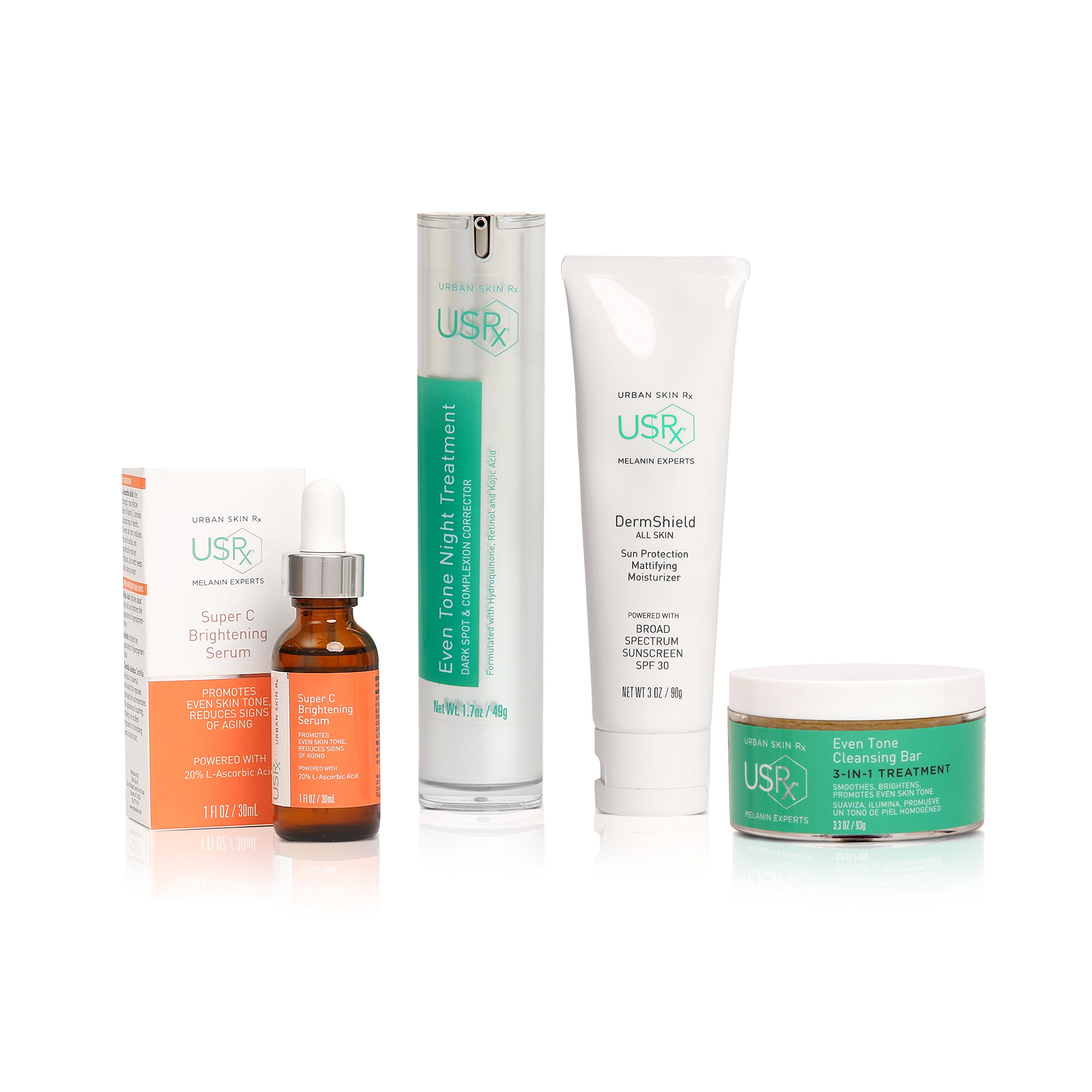 Urban Skin Rx Dark Spot Corrector Even Tone Package Brightening Dull Complexion and Fighting Discoloration, Skin Care Set