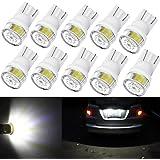 Alla Lighting 10pcs 2W High Power Super Bright 194 168 2825 175 W5W LED Bulbs -- 6000K Xenon White Miniature T10 SMD Wedge Lights