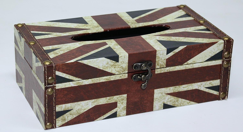 Soporte de caja de pa/ñuelos para decoraci/ón de oficina en casa HE42 Union Jack