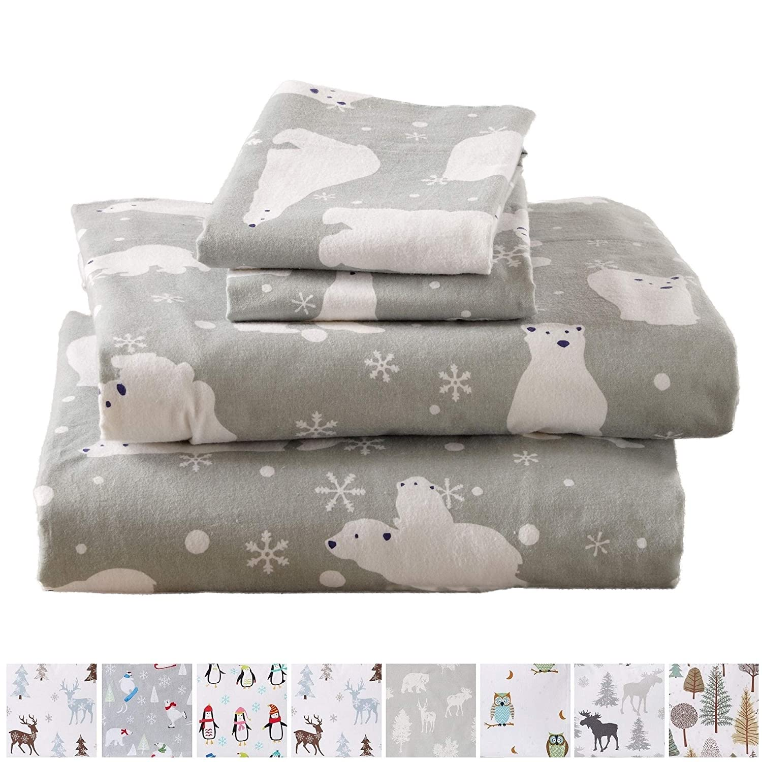 Home Fashion Designs Flannel Sheets Queen Winter Bed Sheets Flannel Sheet Set Grey Polar Bears Flannel Sheets 100% Turkish Cotton Flannel Sheet Set. Stratton Collection (Queen, Grey Polar Bears)