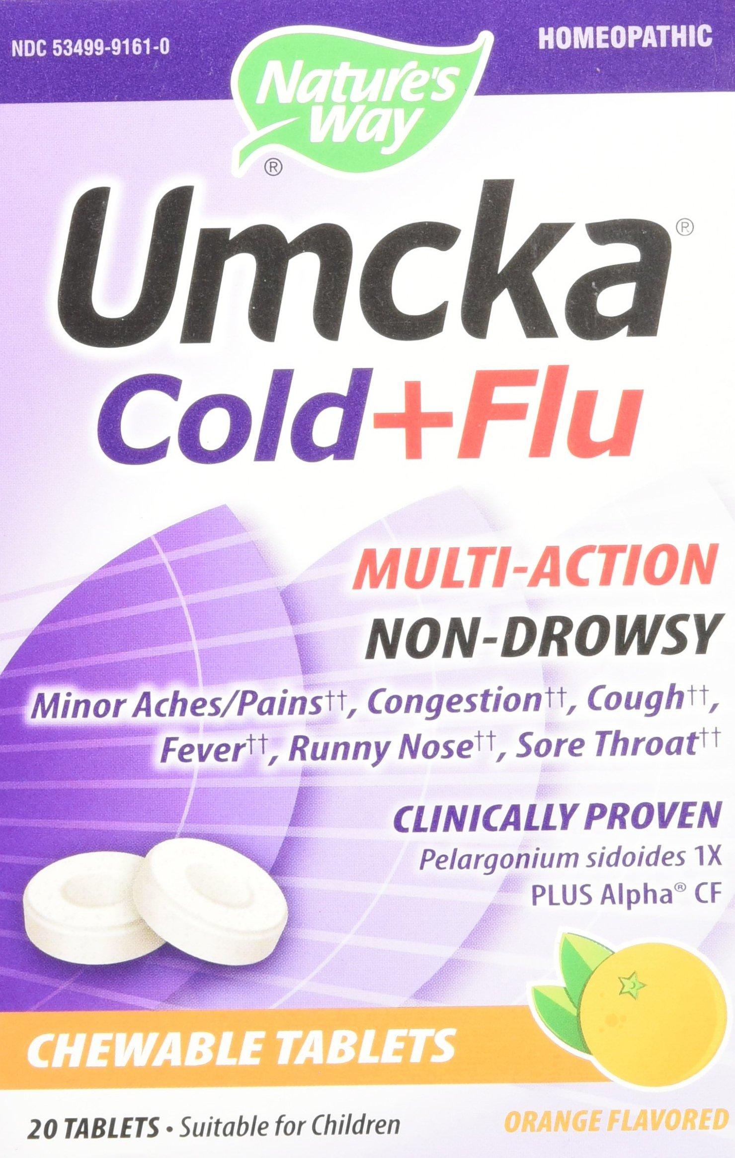 Nature's Way Umcka Cold + Flu - Orange 20 Chwbls