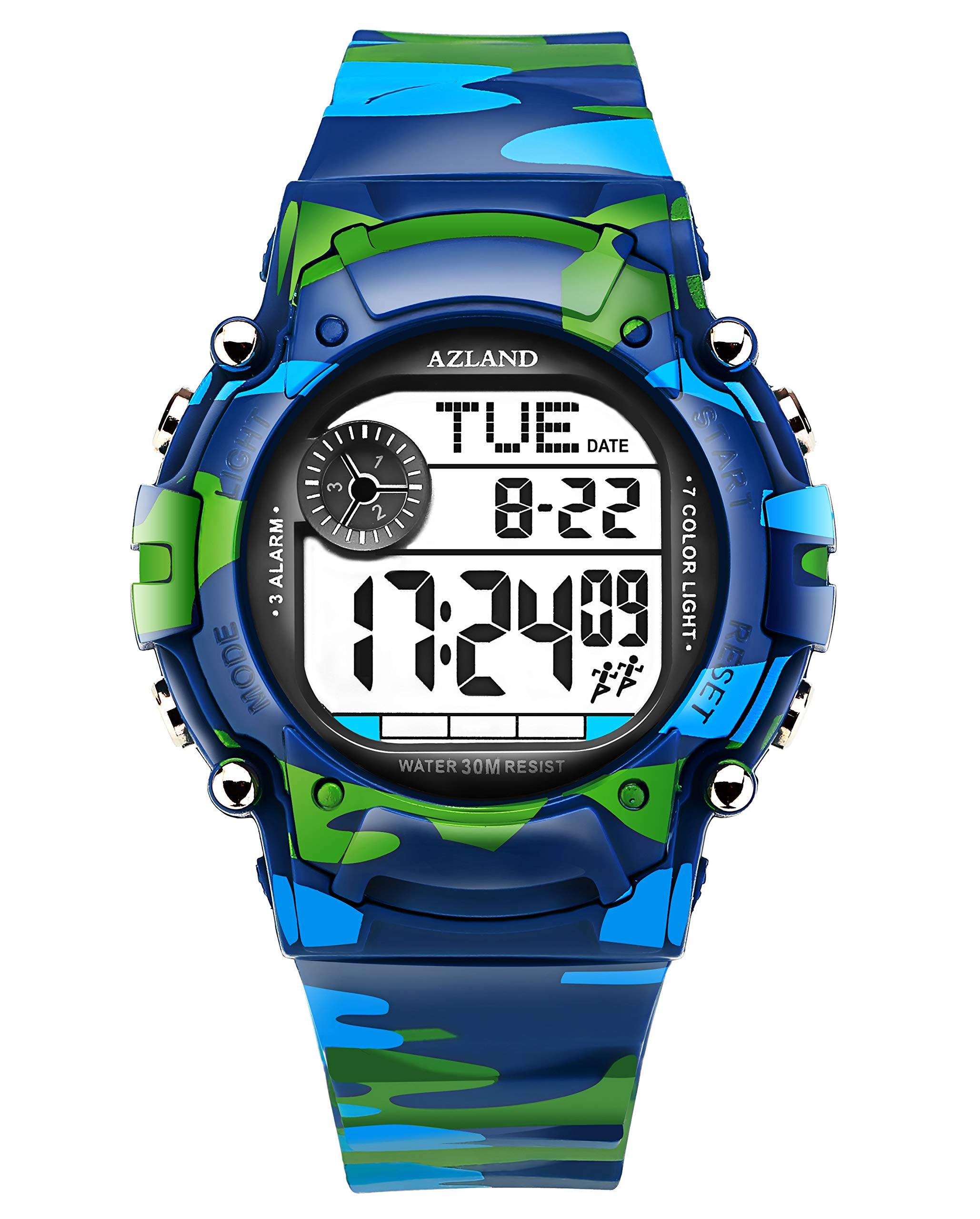 AZLAND 7 Colors Flashing, Multiple Alarms Reminder Sports Kids Wristwatch Waterproof Boys Girls Digital Watches Camo, for Age 4-12 by AZLAND