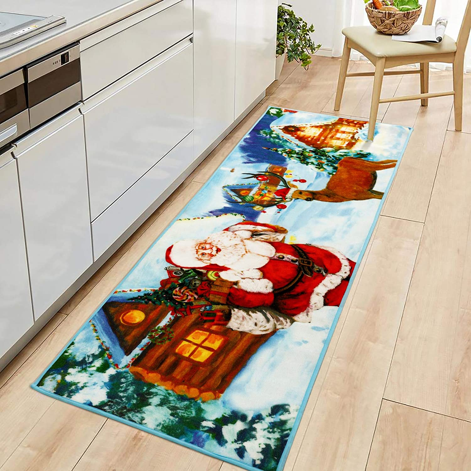 Goffee Christmas Area Rugs Santa Claus Indoor Rug for Xmas Holiday Decoration, Non-Slip Xmas Cute Deer Door Mat Christmas Welcome Carpet for Bedroom Living Room Kitchen Fireplace, 2ft x 6ft