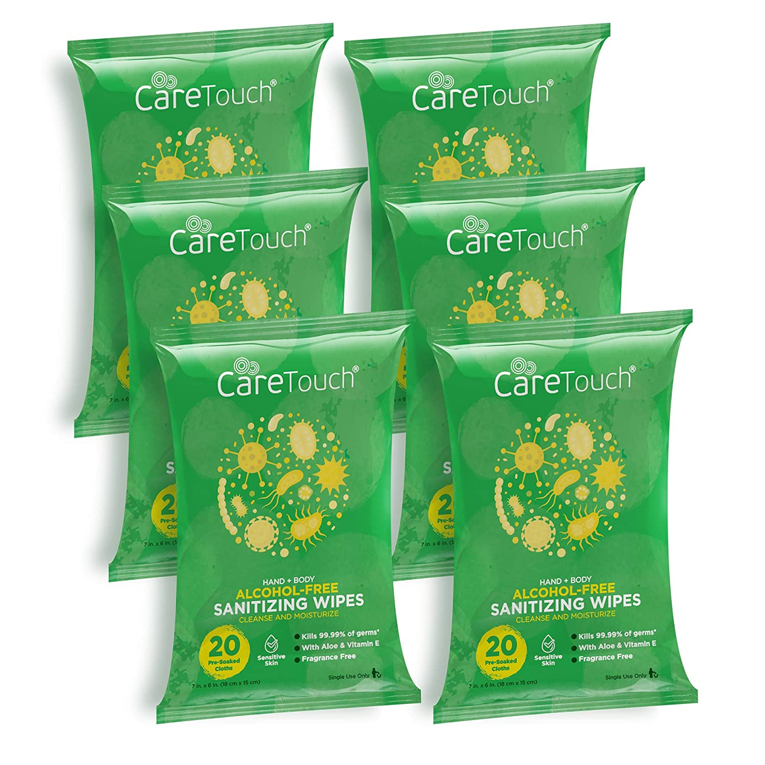 Care Touch Alcohol-Free Hand Sanitizing Wipes | 6 Pouches of 20 Wipes (120 Total) | Antibacterial Hand Wipes with Vitamin E + Aloe Vera for Babies and Adults | Made in The USA