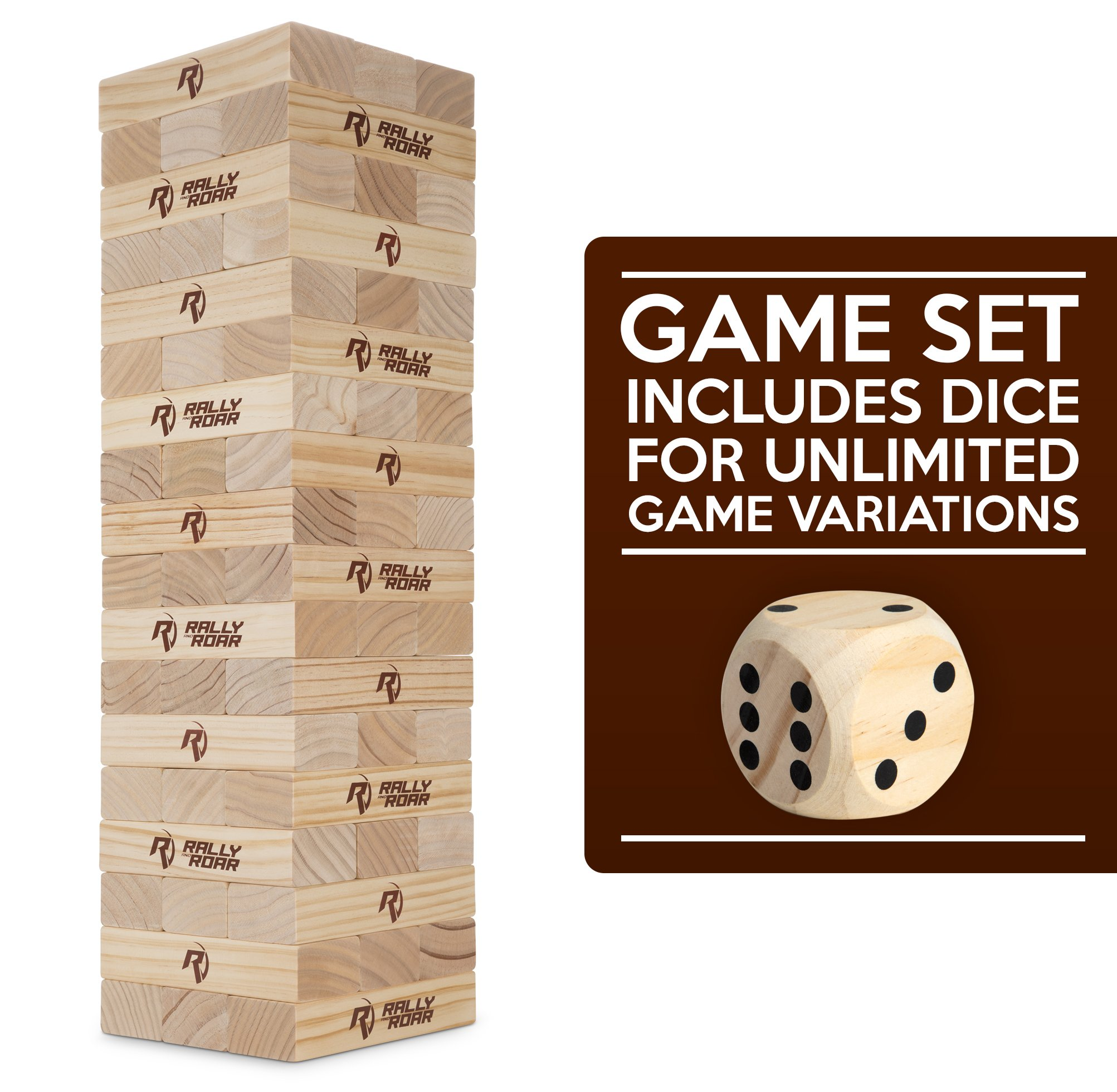 Rally and Roar Toppling Tower Giant Tumbling Timbers Game 2.5 feet Tall (Build to Over 5 feet)– Classic Wood Version - for Adults, Kids, Family – Stacking Blocks Set w/Canvas Bag by Rally and Roar (Image #8)