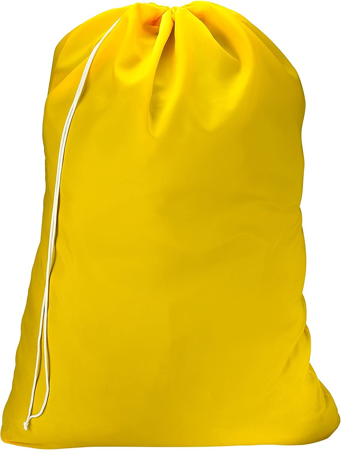 Nylon Laundry Bag - Locking Drawstring Closure and Machine Washable. These Large Bags Will Fit a Laundry Basket or Hamper and Strong Enough to Carry up to Three Loads of Clothes. (Yellow)
