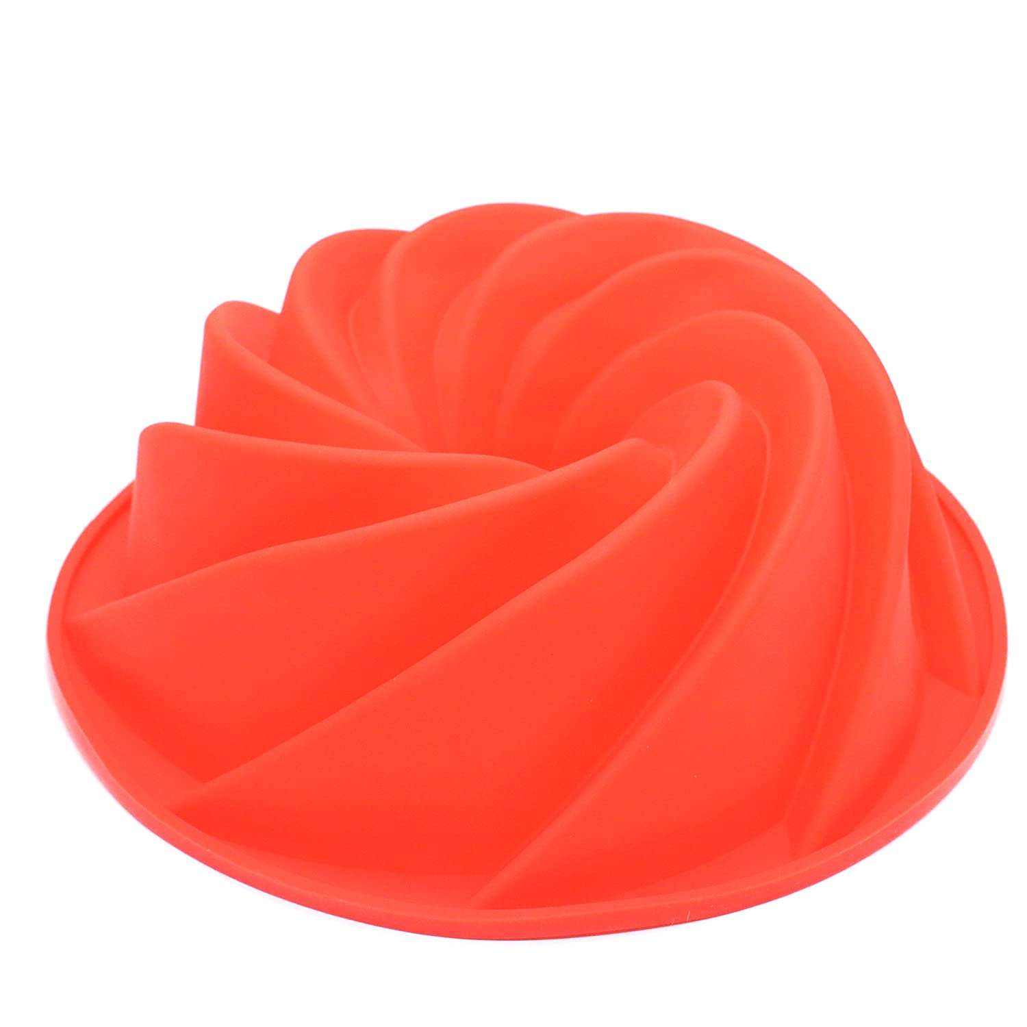 Silicone Fluted Bundt Pan Cake Mold,BPA Free, Non-Stick European-Grade Silicone,Red IDS Manufacturer