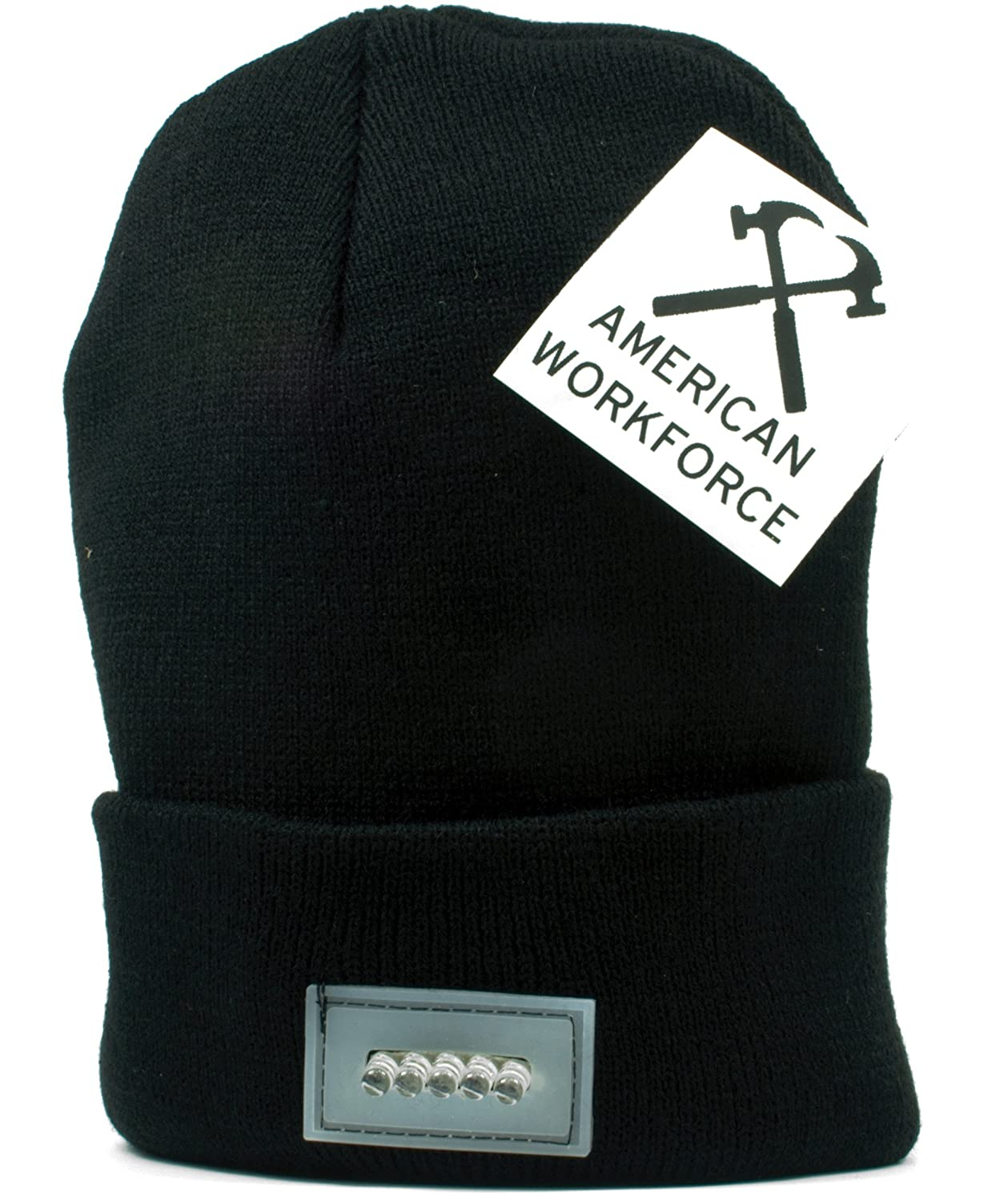 Ultra Bright 5 LED Beanie Hat / Cap by American Workforce - Unisex ...