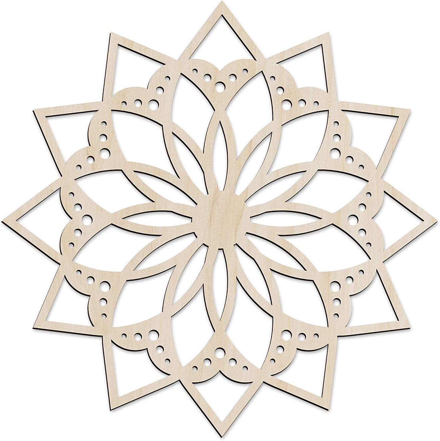 Ambesonne Mandala Wooden Wall Art, Flower Themed Oriental Asian Ornament, Birch Wood Plywood Rustic Wall Art Accent for Hallway Bedroom Living Room Cafes and Offices, 11.4