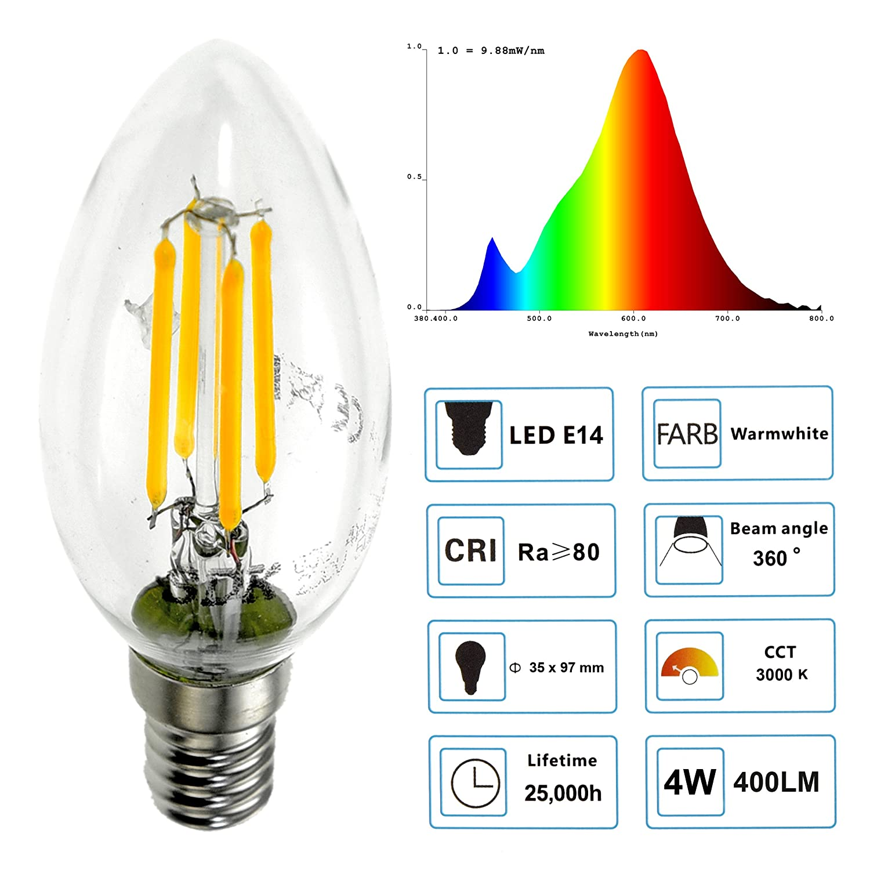 Sdk 10 4 W E14 C35 Led Filament Lamp Light Bulb Equivalent Diagram Of The Incandescent How Flourescent To 40 Watt Warm White 2700 K 3000 360 Beam Angle