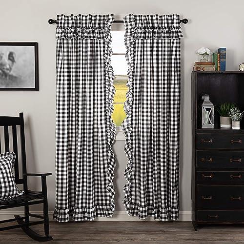 VHC Brands Annie Buffalo Check Curtain, Panel Set 84×40, Black
