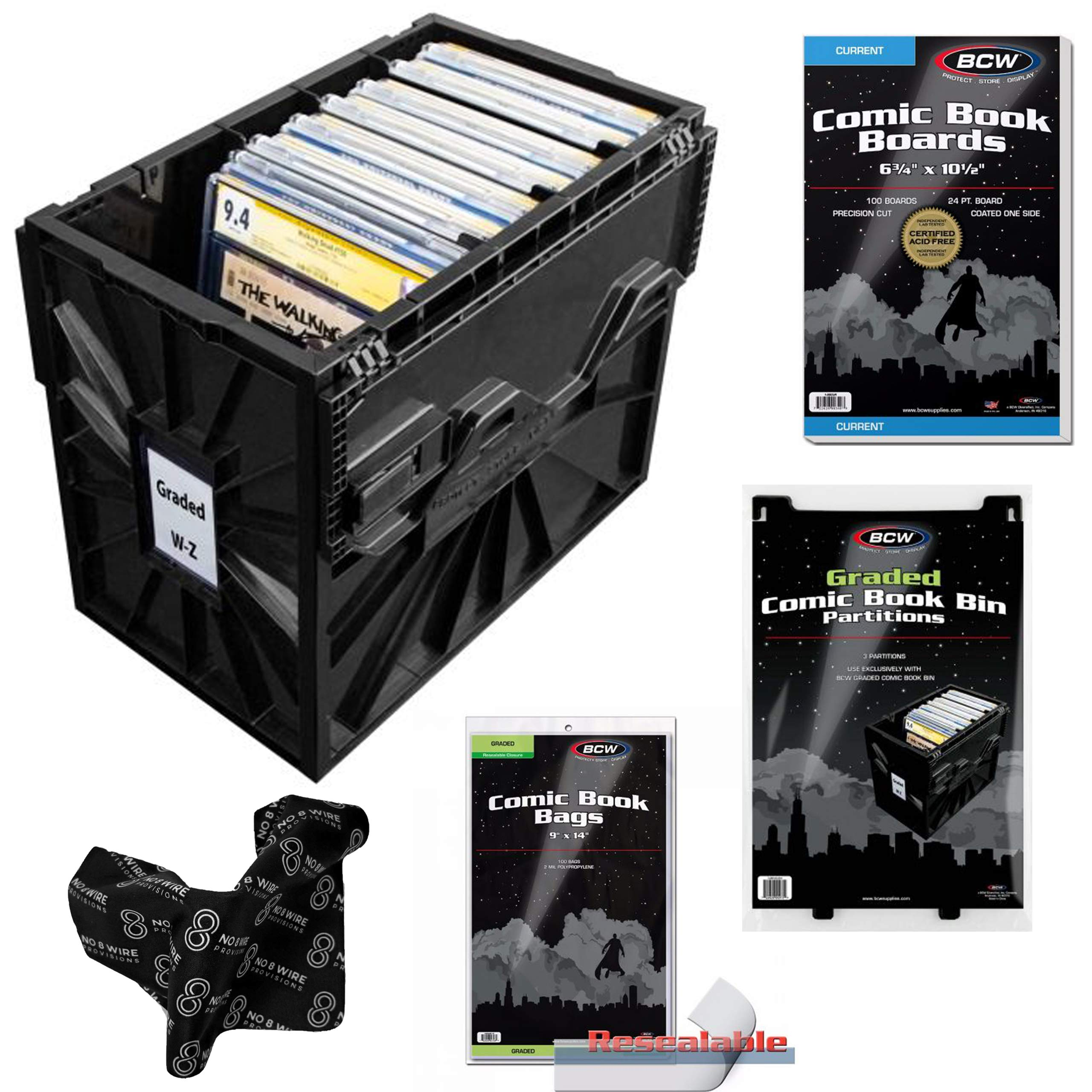 BCW Starter Graded Comic Book Storage Kit - Storage Box, Dividers, Resealable Bags and Backing Boards by No. 8 Wire Provisions