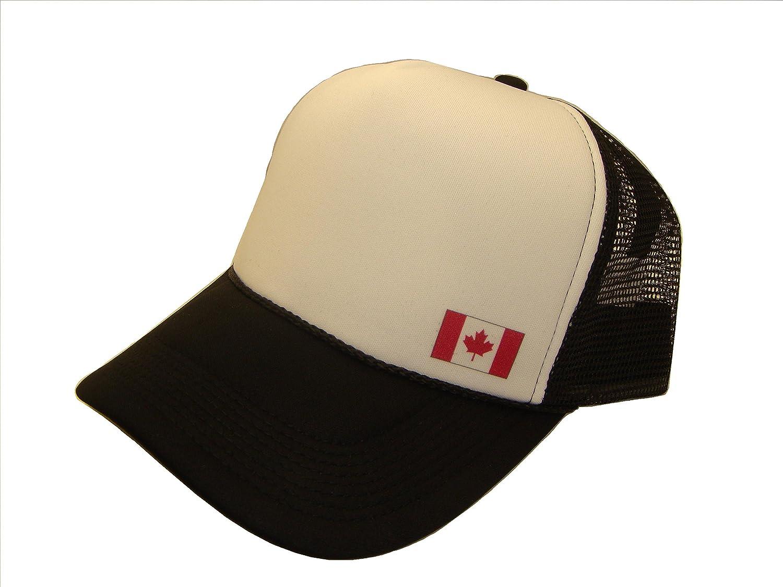 Canadian Canada National Flag Mesh Trucker Cap (One Size, Black/White)