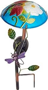 Regal Art &Gift Solar Mushroom Stake Dragonfly Garden Decor